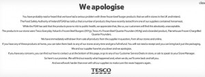 Tesco's online apology