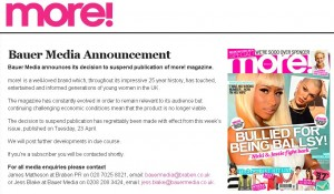more! magazine is closing